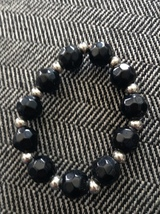 Black Glass Bead Stretch Bracelet - $7.99