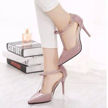 pp096 Elegant sharp headed pumps w t-strappy,size 34-39, pink - $48.86