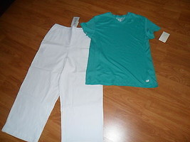 LADIES CAPRI SIZE 10 KENNETH TOO & NEW BALANCE SHIRT GREEN SIZE MEDIUM NWT - $27.74