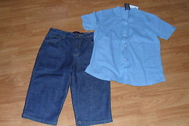 LADIES GLORIA VANDERBILT JEAN SHORTS SIZE 10 & SHIRT SIZE M NWT - $28.49