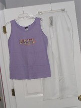 LADIES PANTS SIZE 10 KENNETH TOO! WHITE & HANES TANK TOP PURPLE FLORIDA NWT - $28.49