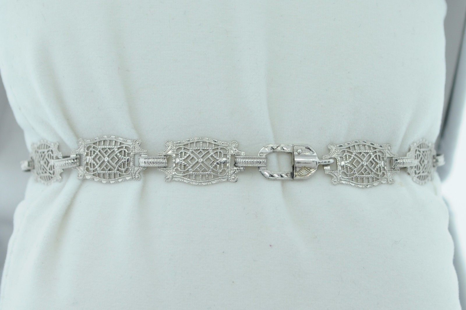 "Art Deco (ca. 1930) 10K White Gold Diamond & Etched Glass Bracelet (6 3/4"") image 7"