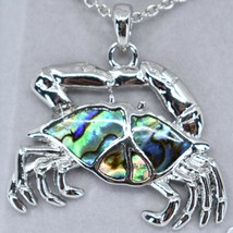 Storrs Wild Pearle Abalone Shell Crab Cancer Zodiac Pendant Silver Tone Necklace image 2