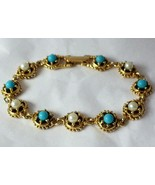 Vintage GOLDETTE Faux TURQUOISE and PEARL Gold tone Link BRACELET - 7 1/... - $42.00