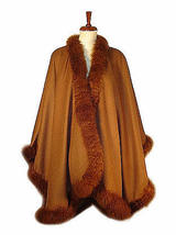 Cape,Poncho Baby Alpaca wool and fur trimming,Outerwear - $682.00