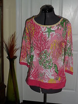 Palm Harbour Knit Top Size Pl Stretch Pink Seascape Beaded Nwt - $16.98