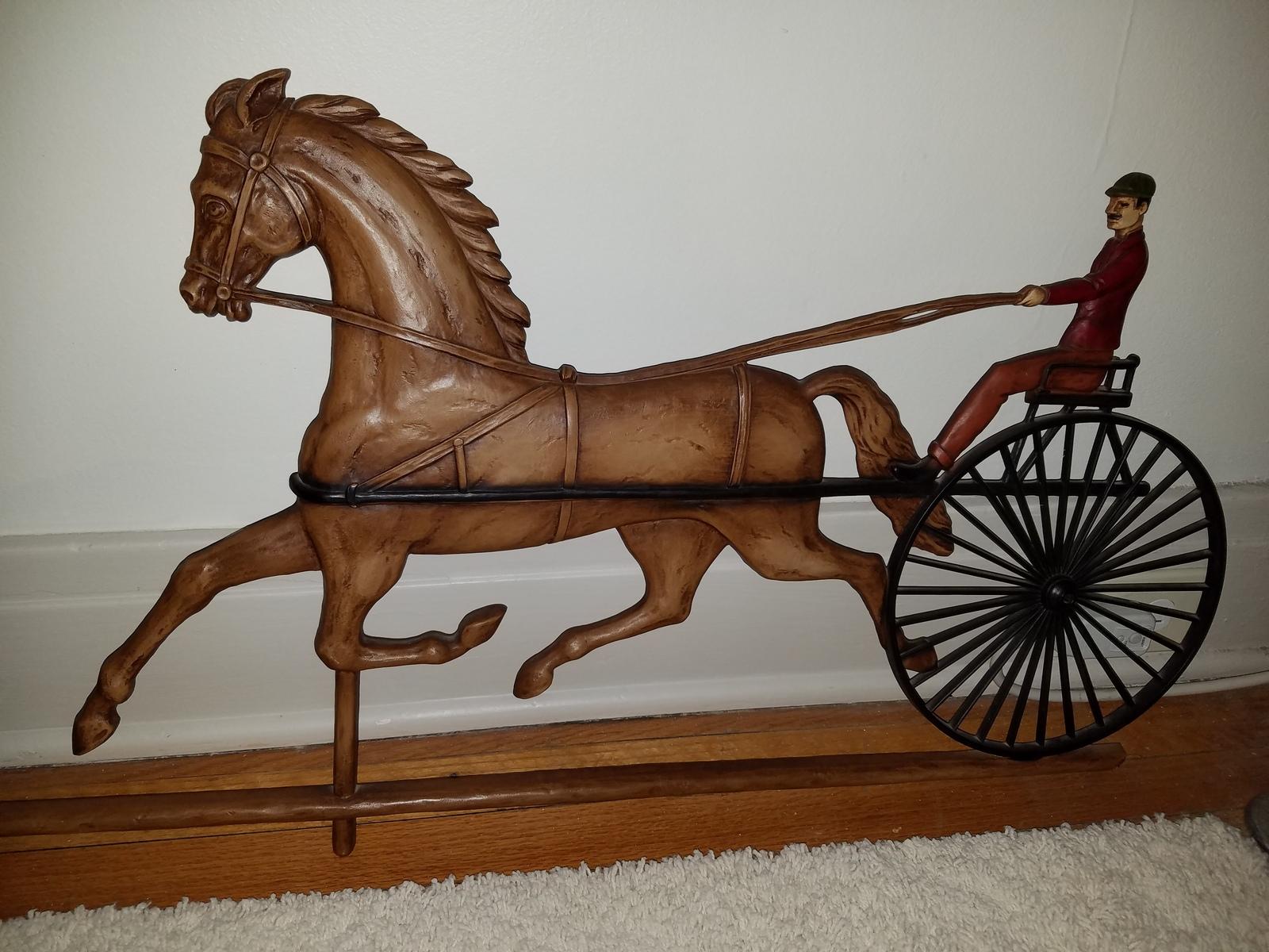 Vintage Ethan Allen wall decor horse and jockey circa 1966 3 ft long antique Art