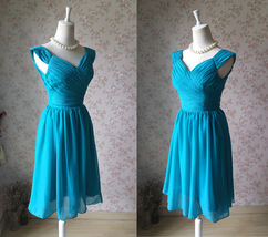 Teal Short Bridesmaid Dresses Prom Dress Teal Color Dresses Sleeveless XXXL NWT image 1