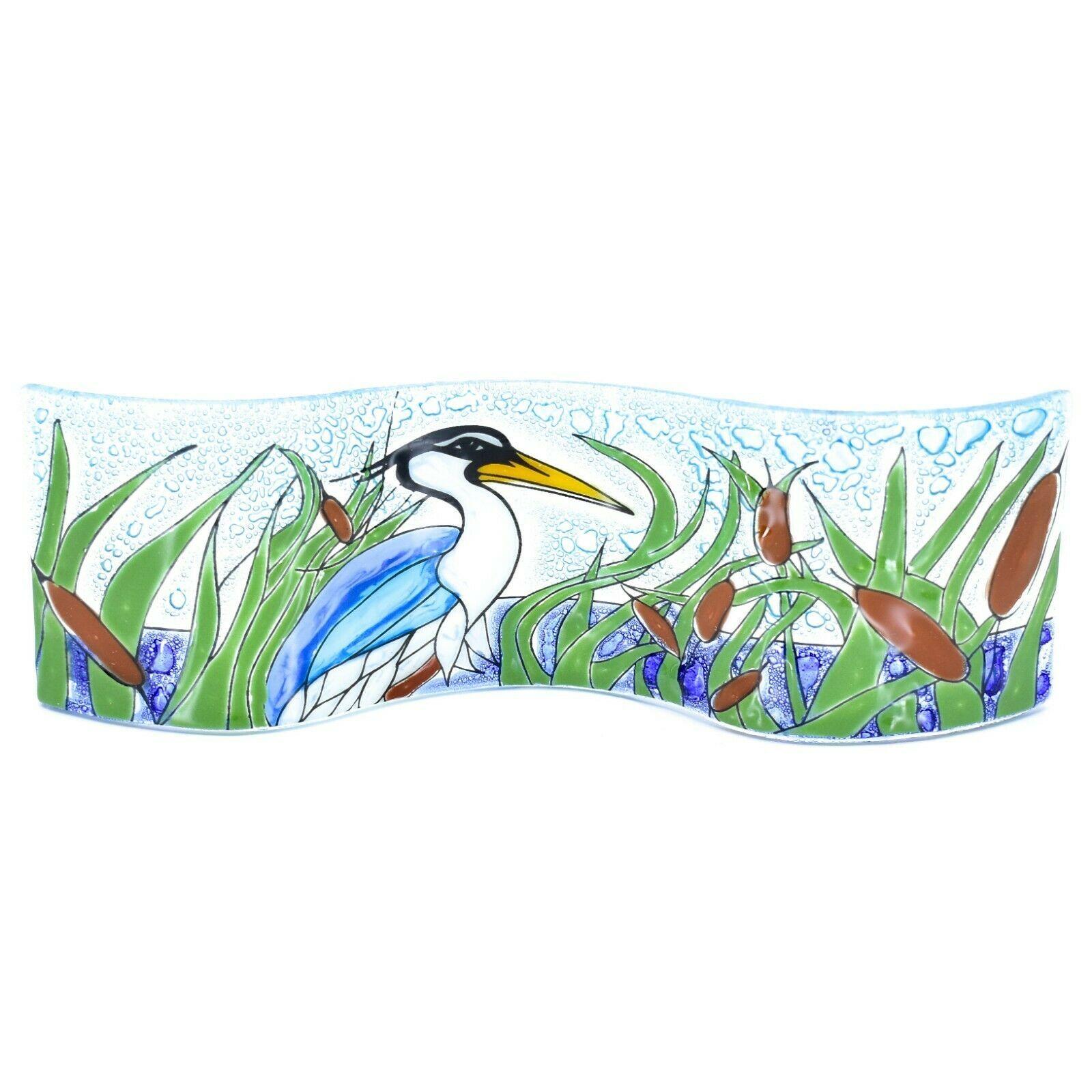 Fused Art Glass Blue Heron Cattails Lake Wavy Decor Piece Handmade in Ecuador