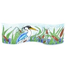 Fused Art Glass Blue Heron Cattails Lake Wavy Decor Piece Handmade in Ecuador image 1