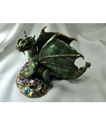 Dragon Green Sitting With Jewels Sculpture Handmade Polymer Clay Wings T... - $145.00
