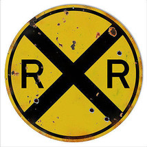 12 Round Aged Looking RR Railroad Crossing Sign - $21.78