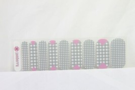 Jamberry Nail Wrap 1/2 Sheet (new) GREY CHECKERED WITH PINK - $8.60