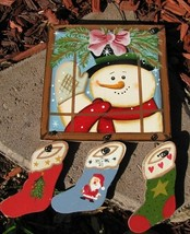 2064 - snowman window pane Wood Sign  - $4.50