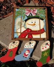 2064 - snowman window pane Wood Sign  - $4.50