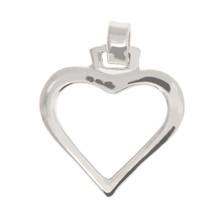 Sterling Silver Antique Plain Cut Out Heart Charm Pendant - $5.00