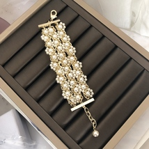 NEW Authentic CHANEL 2019 Multi Strand Crystal CC Gold Chain Pearl Bracelet  image 2