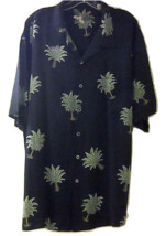 CARIBBEAN SILK MEN'S CASUAL BUTTON FRONT SHIRT BLACK W/PALM TREE PRINT S... - $31.99