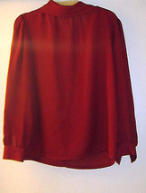 KORET RED BEAUTIFUL PROFESSIONAL BLOUSE w/LONG SLEEVES & PADDED SHOULDER... - $28.99