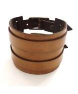 BROWN EXTRA WIDE REAL SOFT LEATHER BRACELET SURF STRAP CUFF WITH TWIN BU... - $18.91