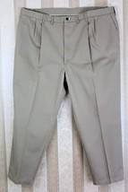 LEE Men's 50 x 30 Khaki Pleated Front Side Elastic Pants Chinos EUC - $28.05