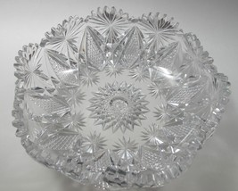 ABP hand Cut Glass mouth blown crimped crystal bowl wheel polished - $148.32