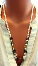 Vintage Luminous Faux Pearls, Golden Beads & Semi Precious Stones Neckla... - $12.59