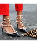 flh5 Celebrity Style Trendy Ankle T-strap Studded Pointy Toe Rockstud Heels - $49.99