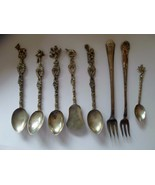 Antique Silver Demitasse Spoons, Italy, Bordini Montagnani  forks mixed lot - $44.05