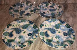 "New Royal Norfolk Blue/Green Flower Paisley-RARE 4ea 10 1/2""Dinner Plates-SHIP24 - $59.28"