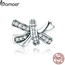 BAMOER Trendy 925 Sterling Silver Sweet Bowknot Dazzling Crystal CZ Char... - $53.74