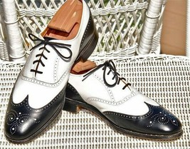Handmade Men's Black and White Wing Tip Brogues Style Lace Up Dress/Formal O image 4