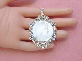 ANTIQUE DECO DIAMOND SAPPHIRE PEARL MADONNA VIRGIN MOTHER MARY BIG PENDA... - $3,860.01
