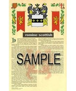 Romine Coat of Arms (Armorial Name History) Family Crest 11x17 Print Scroll - $18.99