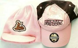 Huntin For Hugs Cap Hat Pink & Brown Plus Matching Deer Knit Hat Toddler... - $15.75