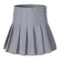 Beautifulfashionlife Women's High Waist Pleated Mini Tennis Skirt(L, Grey) - $24.74