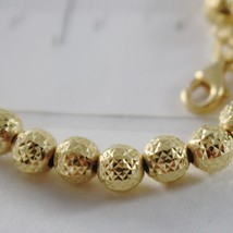 18K YELLOW GOLD BRACELET WITH FINELY WORKED SPHERES 5 MM BALLS MADE IN ITALY image 2