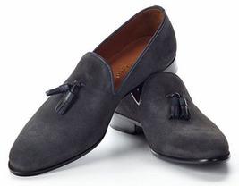Men Handmade Original Gray Suede Leather Moccasins, Men Tassel Slip On Shoes - $144.99+