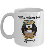 Who Wants To Hula, Penguin Dancer Mug, 11oz White Ceramic Coffee, Tea Cup - £12.59 GBP