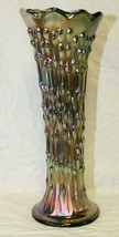 """Fenton 10.25"""" Green Carnival Glass Vase April Showers Scallop Peacock Tail Swung - $99.99"""