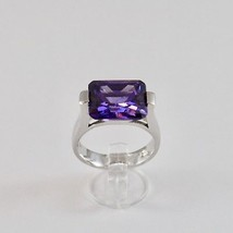 925 SILVER RING RHODIUM WITH CRYSTAL PURPLE OF THE FORM RECTANGULAR - £29.11 GBP