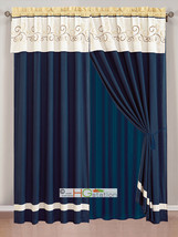 4-Pc Floral Scroll Embroidery Curtain Set Ivory Navy Yellow Valance Sheer Liner - $40.89
