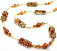 LONG NECKLACE AMBER MURANO GLASS RECTANGLE TUBE, SPHERE, GOLD LEAF, ITALY MADE image 2