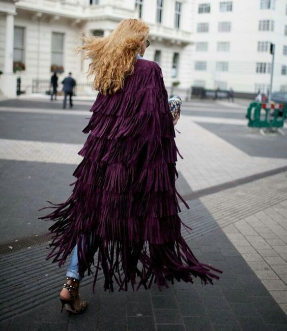WOMEN'S NEW IN FASHION FRINGES SUEDE LEATHER CAPE PONCHO BOHO HIPPY SHAWL WC132 image 7