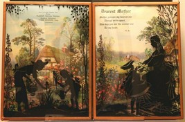 """Set of 2 Convex Glass 6 1/2"""" X 8 1/2"""" Silhouette Pictures Advertising 143"""
