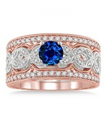 2 carat sapphire and diamond antique trio bridal set ring on 10k white gold  thumbtall
