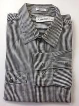 Calvin Klein Men Long Sleeve Shirt Medium Black White Check Cotton - $27.76