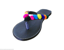 Women Slippers Traditional Indian Designer Handmade Black Leather Shoes US 7 - $29.99