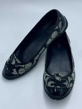 Coach Dannie 7.5 Black Gray Jacquard Patent Trim Ballet Flats Shoes - $34.99