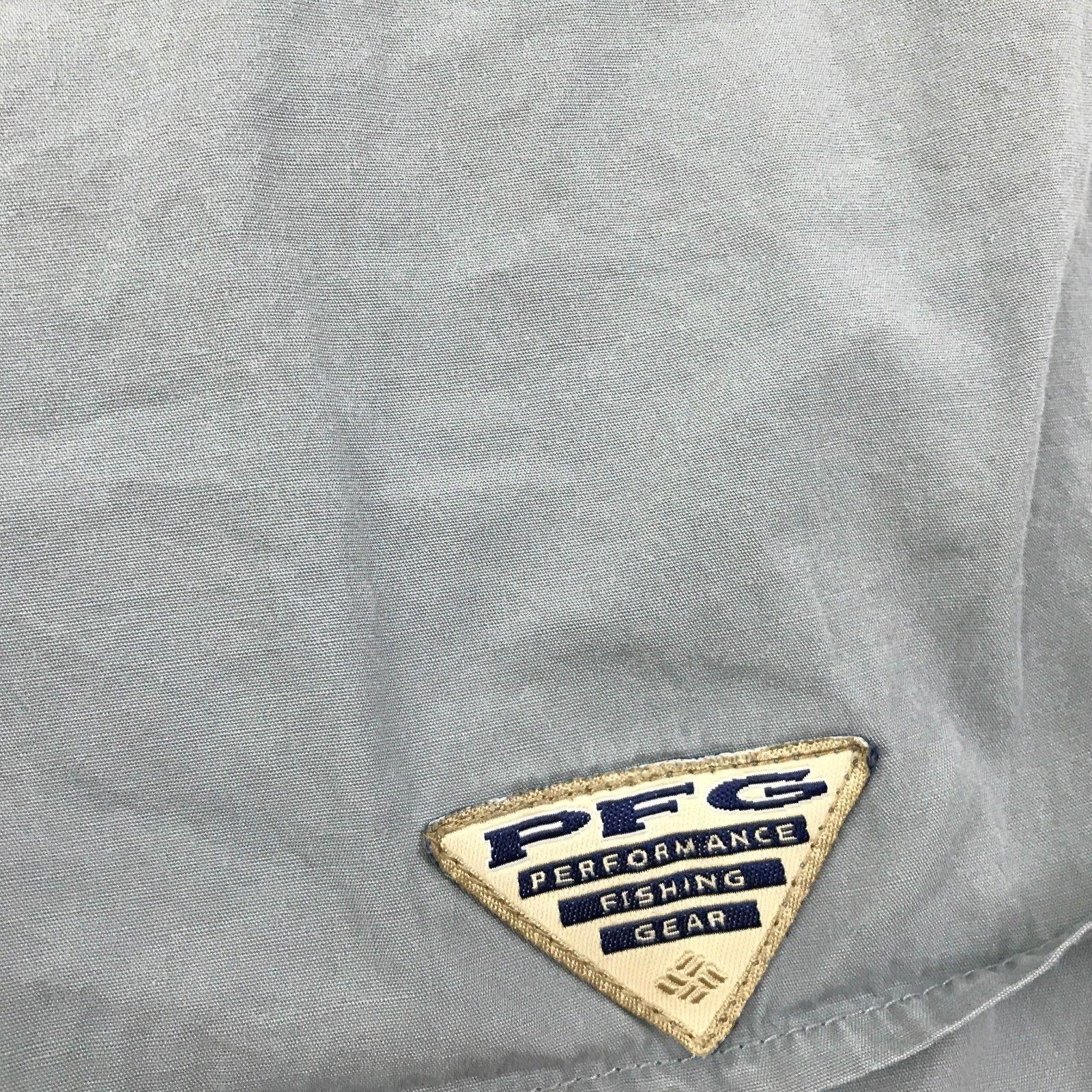 Columbia Mens L PFG Button Down Performance Fishing Gear Blue Short Sleeve Caped